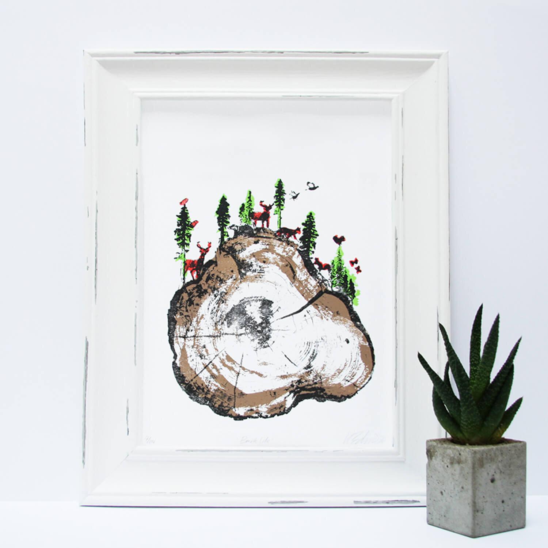 barklife_framed_trees_forest_animals_deer_screenprint_katie_edwards_illustration_art